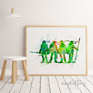 Teenage Mutant Ninja Turtles Watercolor Art Print Art Print - VIVIDEDITIONS