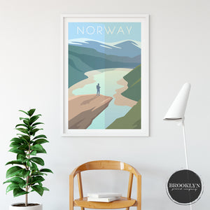 Norway Landscape City Map Travel Poster Art Print