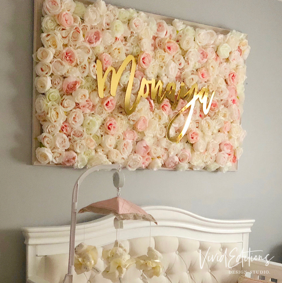Gold Mirror Name Sign For Backdrop Boxwood Hedgewall