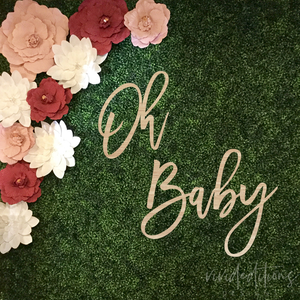 "36"" wide 'Oh Baby' Baby Shower Backdrop Sign, Wood or Acrylic Art Print - VIVIDEDITIONS"