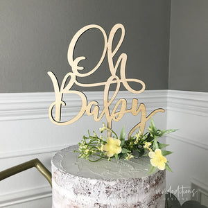 Oh Baby Shower Cake Topper, Wood