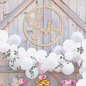 Oh Baby Round Wood Baby Shower Backdrop Sign Art Print - VIVIDEDITIONS
