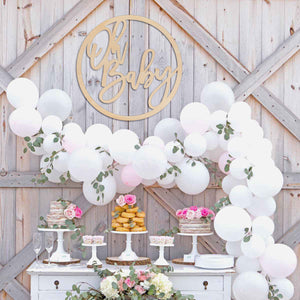 Baby Shower Oh Baby Round Wood Backdrop Sign Wall