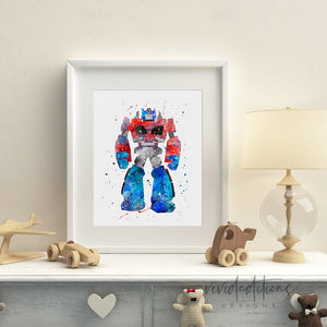 Optimus Prime, Transformers Watercolor Art Print Art Print - VIVIDEDITIONS