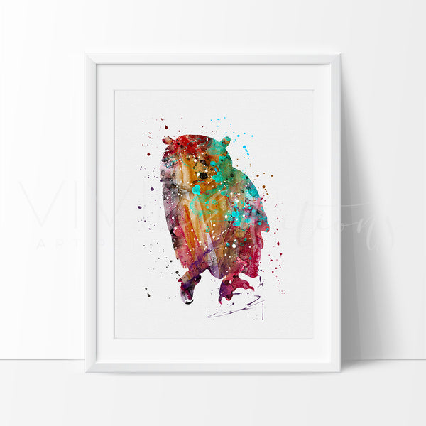 Owl Bird Watercolor Art Print Wall Decor