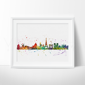 Paris Skyline 2 Watercolor Art Print Art Print - VIVIDEDITIONS