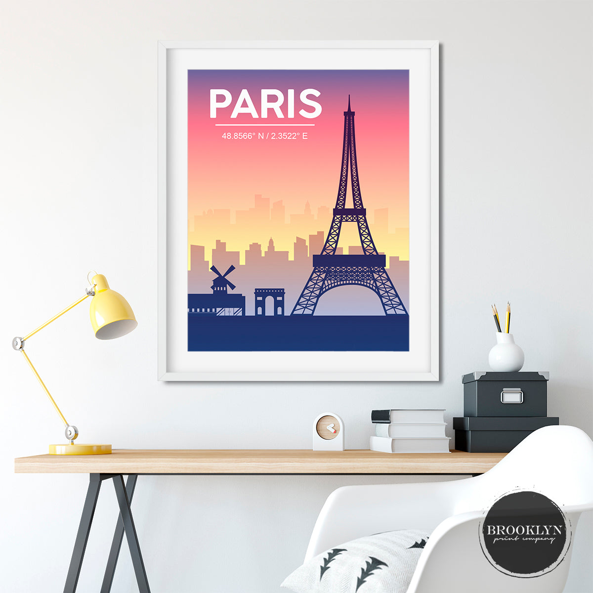 Paris Eiffel Tower Skyline City Art Travel Poster Art Print - VIVIDEDITIONS