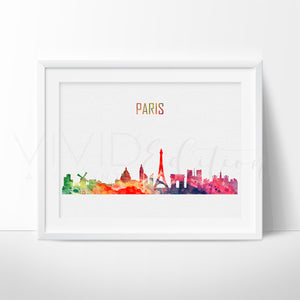 Paris France Skyline Cityscape Watercolor Art Print Wall Decor