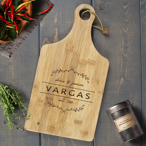 Personalized Engraved Paddle Cutting Board, Bamboo - CB05 Art Print - VIVIDEDITIONS
