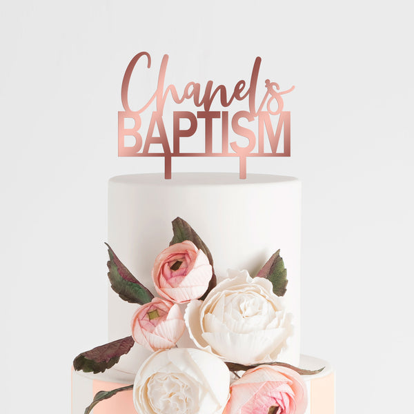 Baptism Cake Topper - Personalized Name - Rose Gold