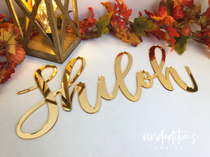 "18"" Silver Mirror Personalized Name Sign Art Print - VIVIDEDITIONS"