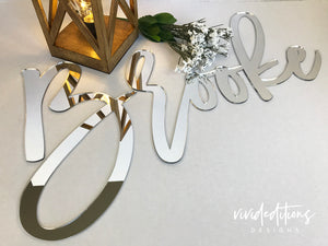 "24"" Rose Gold Mirror Personalized Name Sign Art Print - VIVIDEDITIONS"