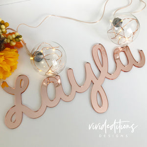 "30"" Rose Gold Large Personalized Name Sign Art Print - VIVIDEDITIONS"