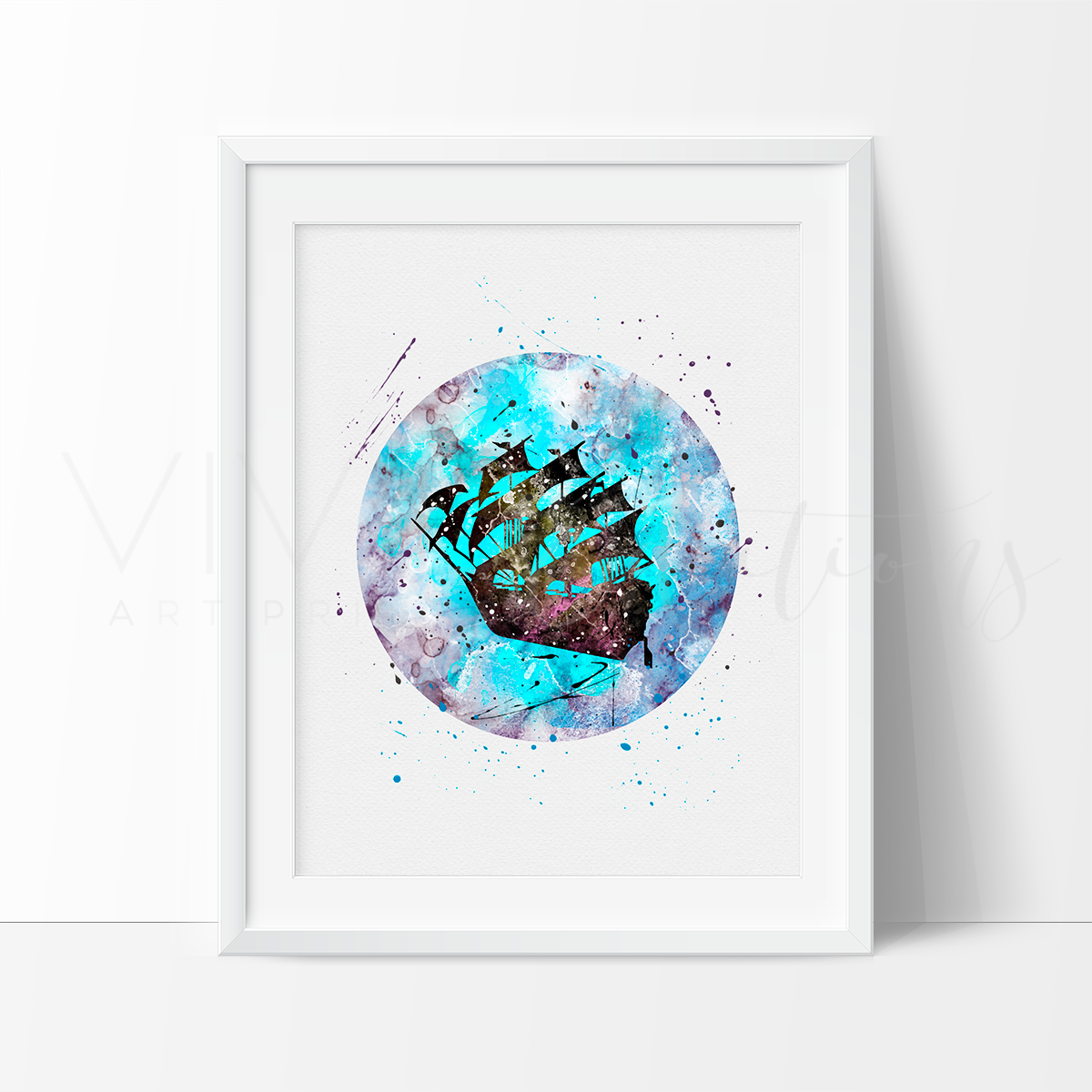 Peter Pan Ship Watercolor Art Print Art Print - VIVIDEDITIONS