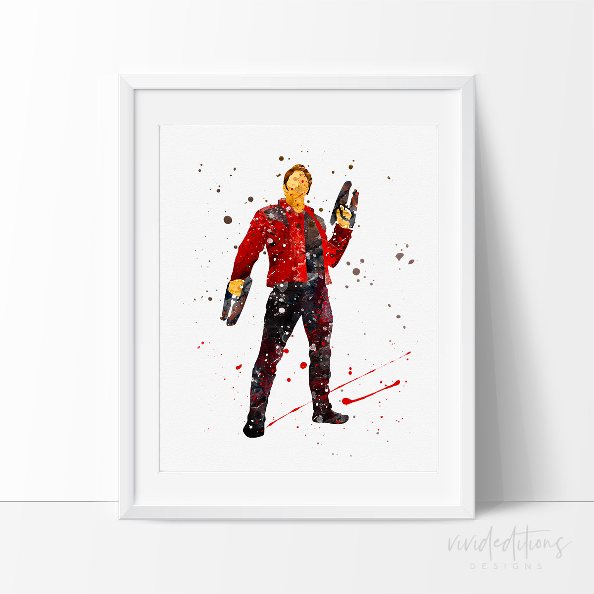 Guardians of the Galaxy Peter Quill Watercolor Art Print Art Print - VIVIDEDITIONS