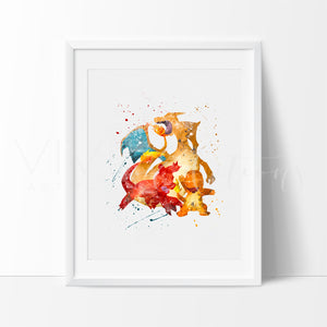 Charmander, Charmeleon & Charizard, Pokemon Go Evolution Watercolor Art Print Art Print - VIVIDEDITIONS