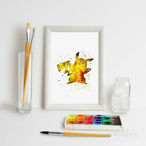Pikachu, Pokemon Go Watercolor Art Print Art Print - VIVIDEDITIONS