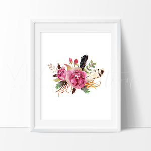 Boho Floral Posy 4 Art Print - VIVIDEDITIONS