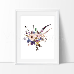 Boho Floral Posy 6 Art Print - VIVIDEDITIONS
