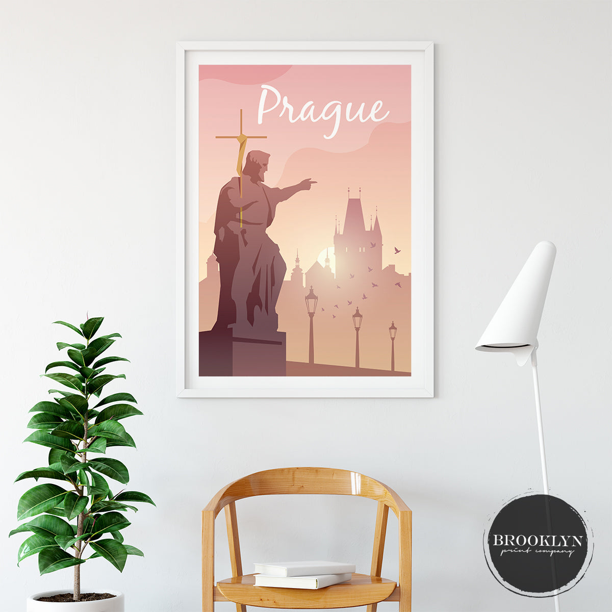 Prague Landscape Skyline City Art Travel Poster Art Print - VIVIDEDITIONS