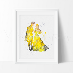 Princess Aurora & Prince Phillip 4 Watercolor Art Print