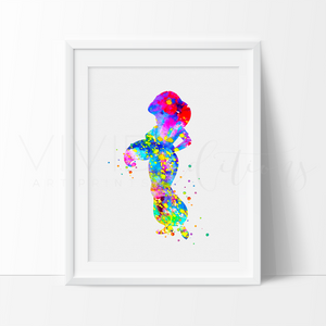 Princess Jasmine 4, Aladdin Watercolor Art Print