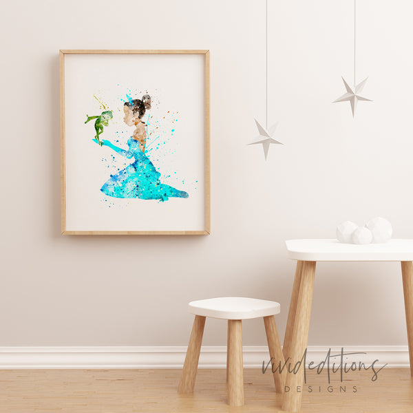 Princess Tiana Watercolor Art Print Art Print - VIVIDEDITIONS