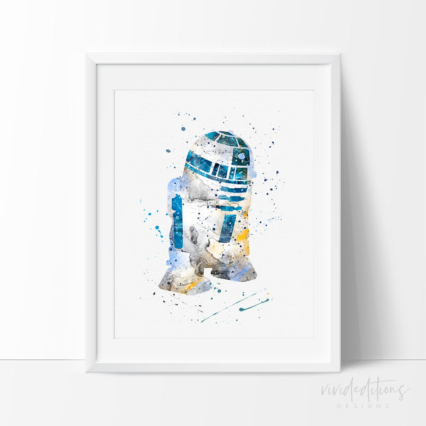 R2D2 Star Wars Watercolor Art Print Art Print - VIVIDEDITIONS