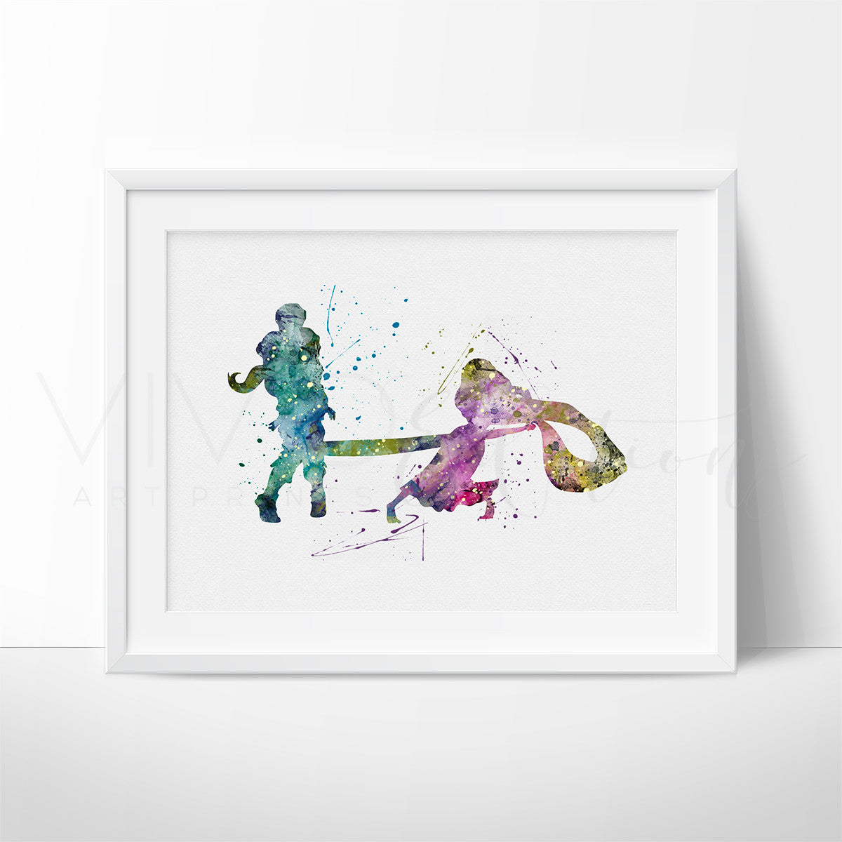 Tangled Rapunzel Watercolor Art Print Art Print - VIVIDEDITIONS