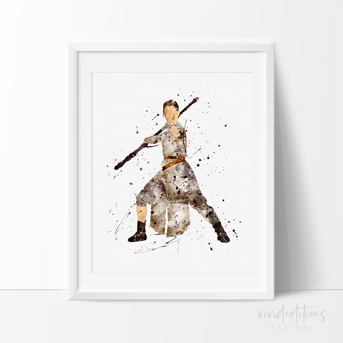 Rey Star Wars Watercolor Art Print Art Print - VIVIDEDITIONS