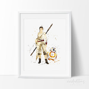 Rey and BB8 Star Wars Poster, The Force Awakens Watercolor Art Print, Solo Story Nursery Art Print , Wall Decor