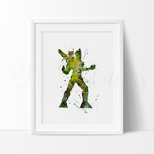 Rocket and Groot Watercolor Art Print