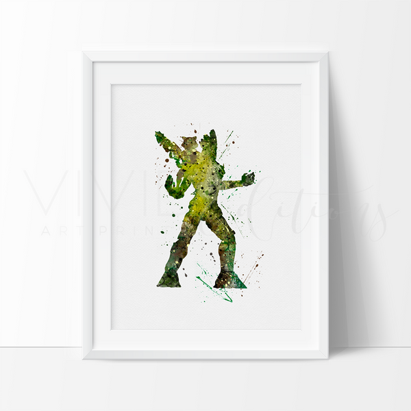 Rocket and Groot Watercolor Art Print Art Print - VIVIDEDITIONS