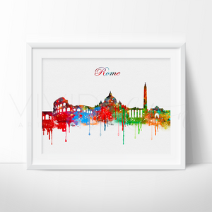 Rome Skyline Watercolor Art Print Art Print - VIVIDEDITIONS