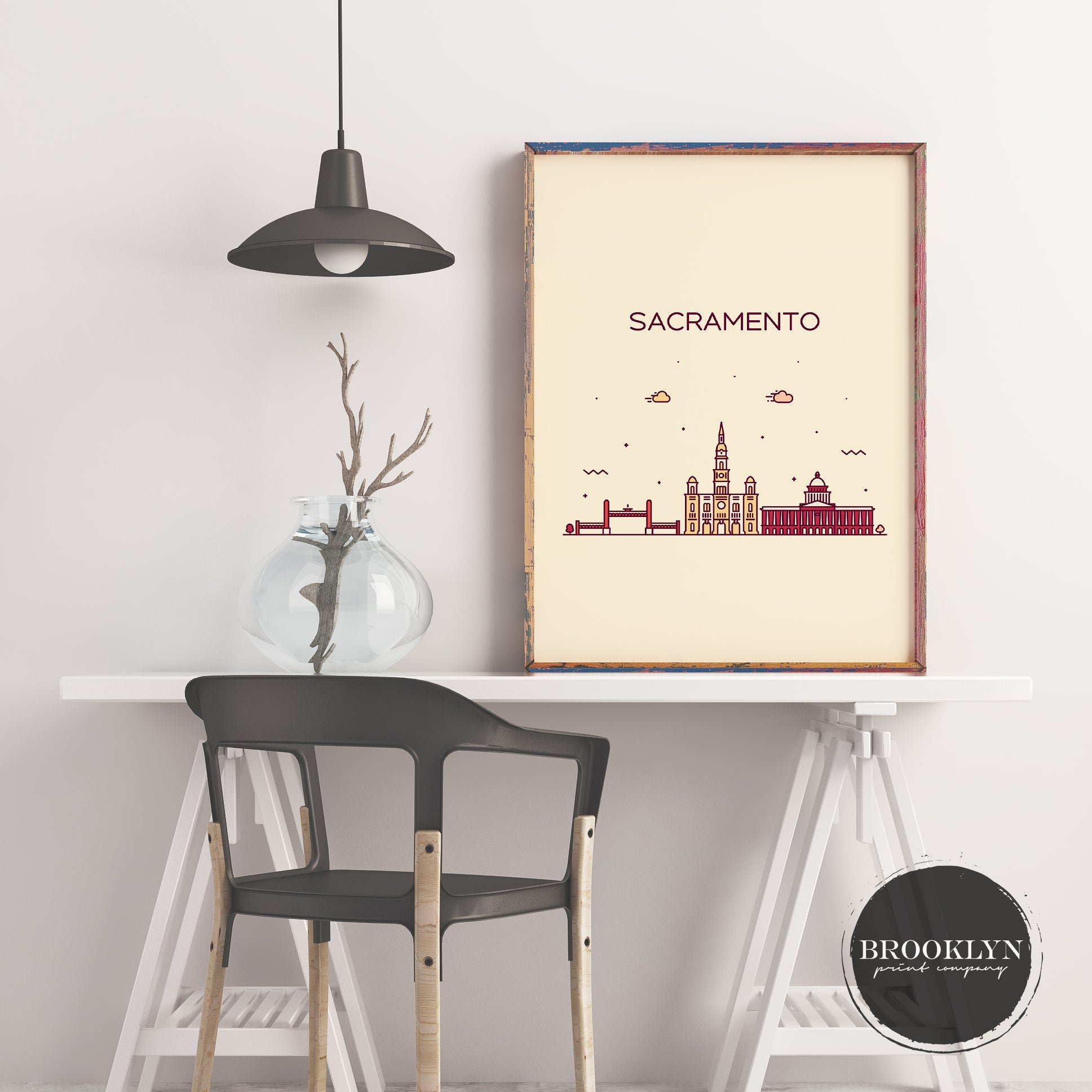 Sacramento Skyline Travel Poster Art Print - VIVIDEDITIONS