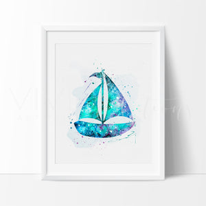 Sailboat Nautical Nursery Art Print Wall Decor