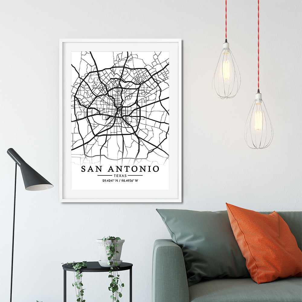 San Antonio City Map Grid Travel Poster Art Print - VIVIDEDITIONS