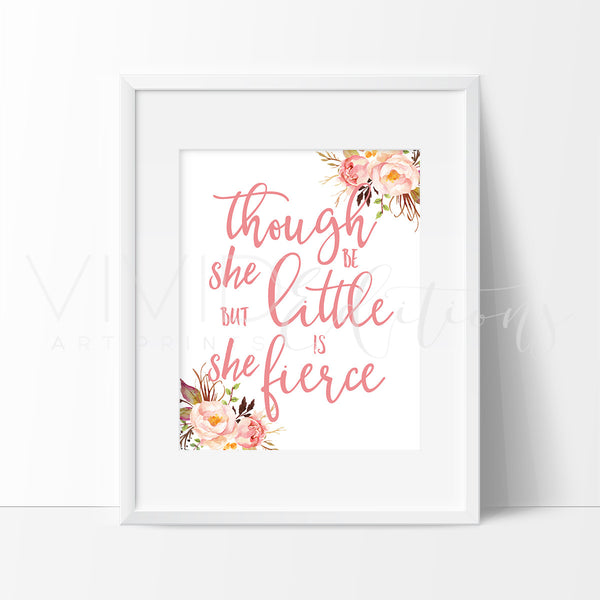 She Be Little But Fierce Watercolor Art Print