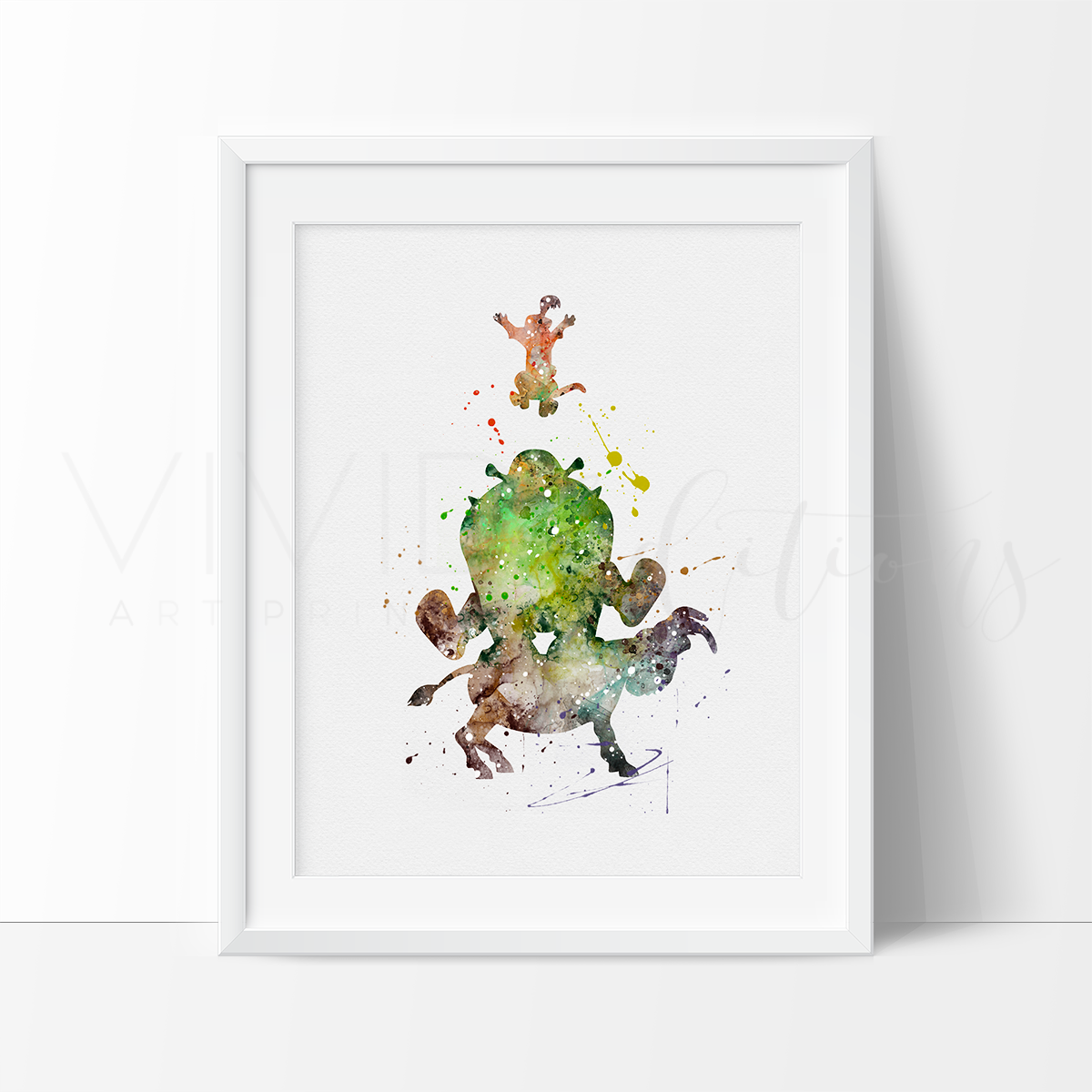 Shrek and Donkey, Puss in Boots Watercolor Art Print Art Print - VIVIDEDITIONS