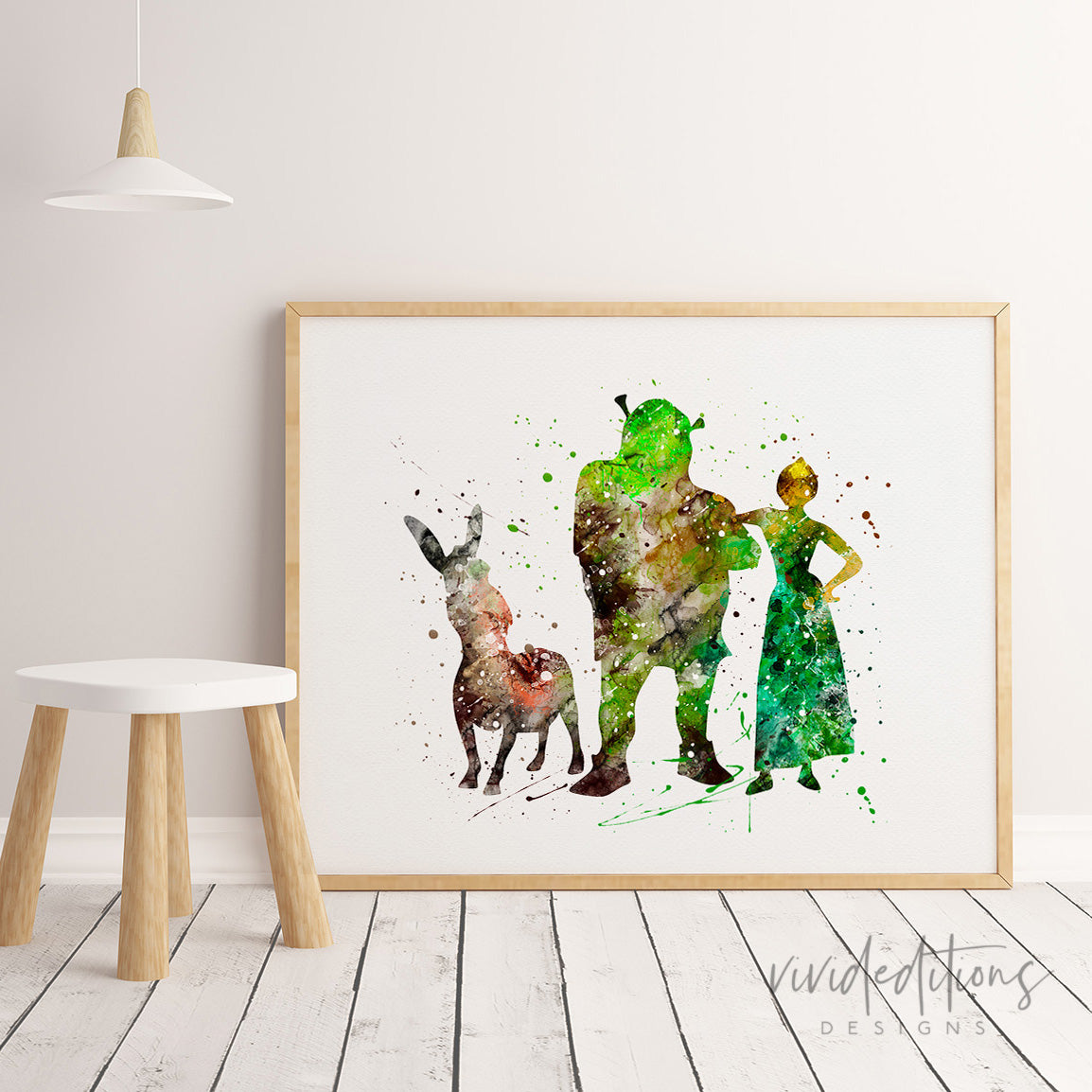 Shrek, Donkey & Fiona Watercolor Art Print Art Print - VIVIDEDITIONS