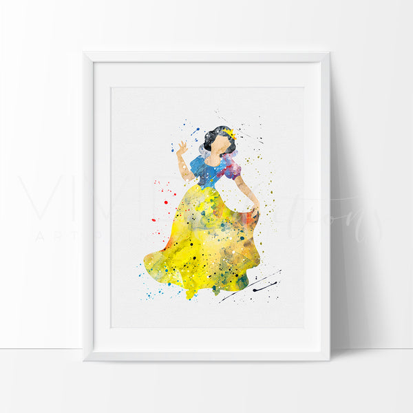 Snow White 3 Watercolor Art Print Art Print - VIVIDEDITIONS