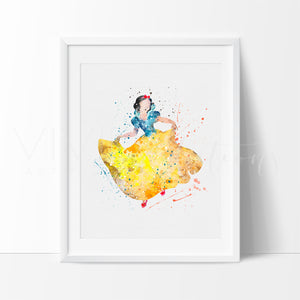 Snow White Watercolor Art Print Art Print - VIVIDEDITIONS