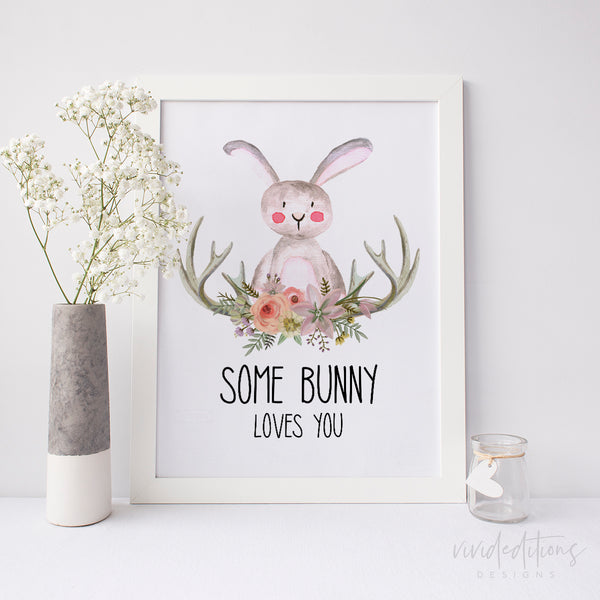 animal nursery art print bunny rabbit easter