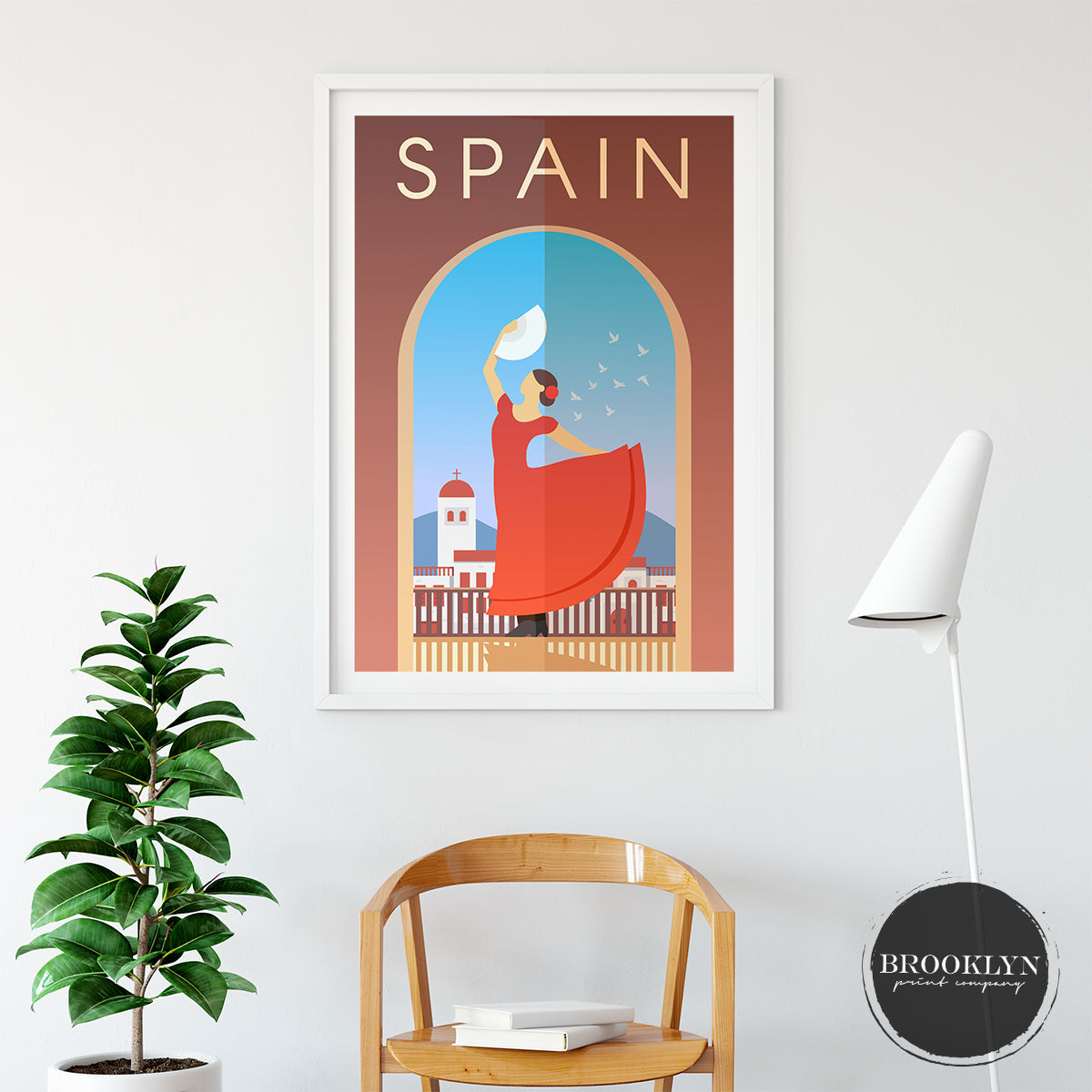 Spain Skyline City Art Travel Poster Art Print - VIVIDEDITIONS