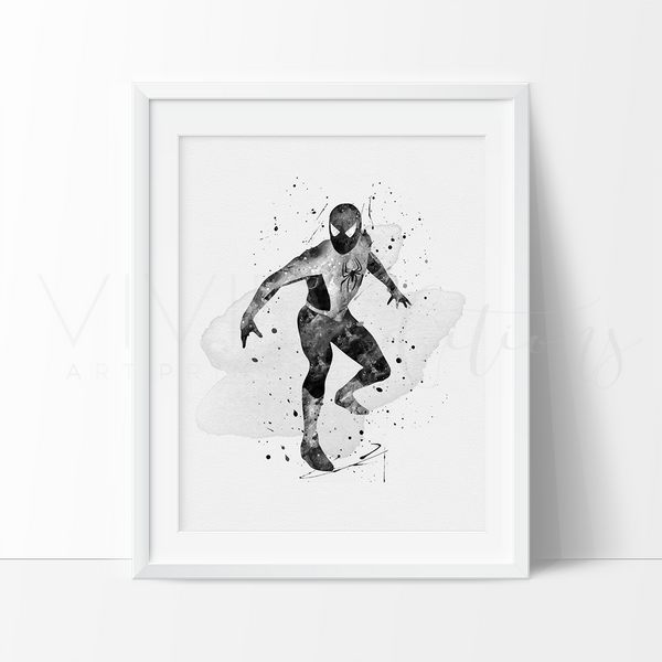 Spiderman, Black + White Watercolor Art Print Art Print - VIVIDEDITIONS