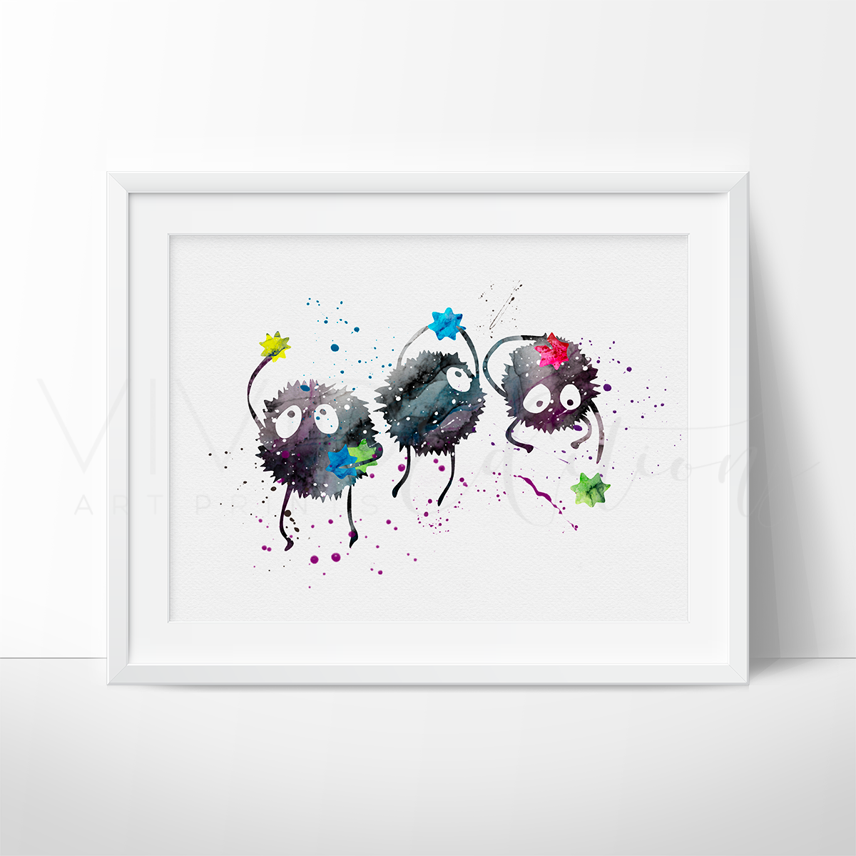 Sprites Spirited Away Watercolor Art Print Art Print - VIVIDEDITIONS