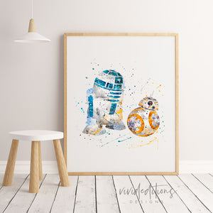 R2D2 & BB8, Star Wars Watercolor Art Print Art Print - VIVIDEDITIONS