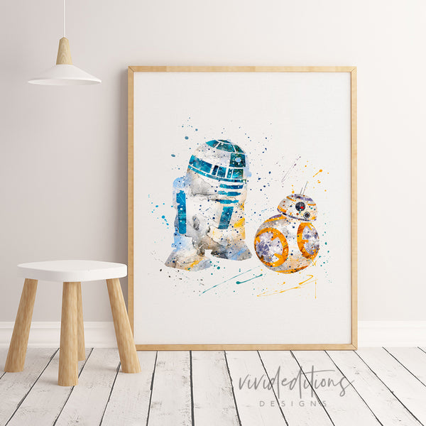 Nursery Decor Star Wars R2D2 BB8 Nursery Wall Art, Nursery Prints, Nursery Art, Nursery Decor Boy, Watercolor Nursery