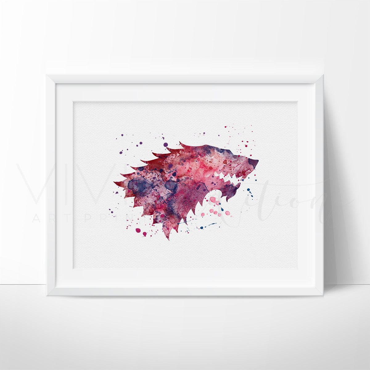Game of Thrones, Stark House Crest 2 Watercolor Art Print Art Print - VIVIDEDITIONS