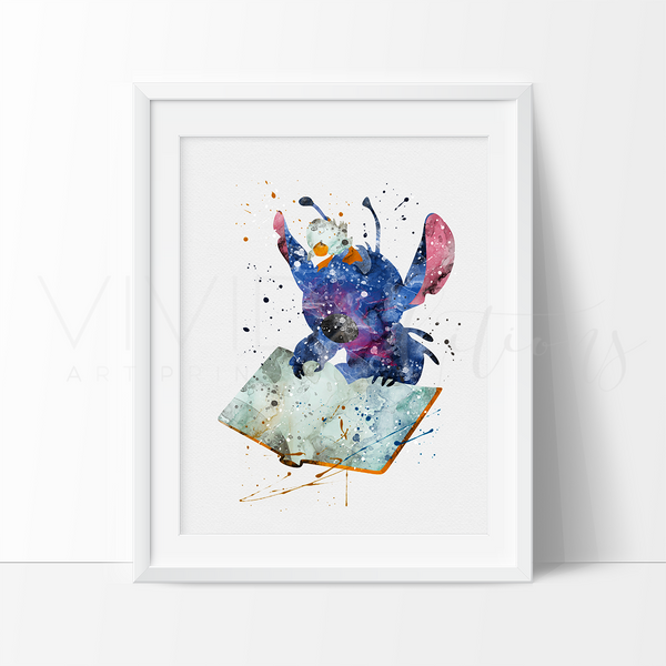 Stitch 2, Lilo & Stitch Watercolor Art Print Art Print - VIVIDEDITIONS